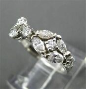 Antique Wide 1.20ct Diamond 14kt White Gold Round Marquise Floral Fun Ring 6712
