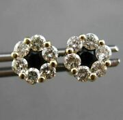 Estate Large 1.98ct Diamond And Sapphire 14kt Yellow Gold Cluster Earrings 24552
