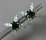 Estate 1.07ct Diamond And Emerald Platinum And 18kt Yellow Gold Star Stud Earrings