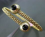 Estate Wide 2.50ct Diamond And Cabochon Amethyst 14kt Yellow Gold Bangle Bracelet