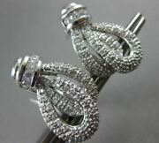 Estate Wide 1.52ct Diamond 18kt White Gold 3d Love Knot Clip On Hanging Earrings