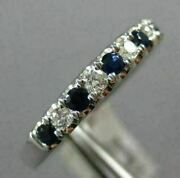 Estate .64ct Diamond And Aaa Sapphire 14kt White Gold 3d Round Anniversary Ring