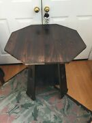 Signed Charles Limbert Octagon Lamp Table Arts And Crafts Great Cut Outs