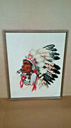 Old Vintage Antique 17andtimes21and039 Hand Stitched Cherokee Chief Canvas Picture Art