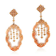 Studded Diamond And Carved Gemstone Dangle Earrings 18k Rose Gold Jewelry