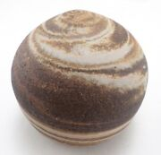 Hand Thrown Studio Pottery Mixed Clay Closed Form Planet Sculpture Signed Ca
