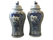 Mansion Size Chinoiserie B And W Porcelain Ginger Jars - A Pair 47 H