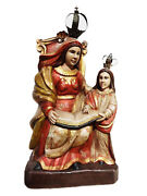 Superb South American Circa 1950 Hand Carved Wood St Anne Teaching Child Mary