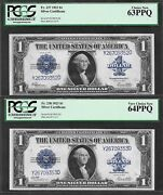 1923 1 Sc Fr-237 And Fr-238 ♚♚change-over Pair♚♚ Pcgs Very Ch New 64ppq/63 Ppq