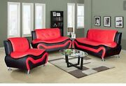 Two-tone Black Red Compact Design Modern Faux Leather Sofa Set 3 Pc