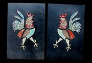 Rare Htf Hagen Renaker Rooster Mosaic Pottery Plaques