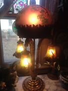 Antique Asian Monumental 32 Tall Pendant Lamp Handpainted Glass Shades