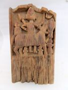 1750and039s Antique Old Rare Wooden Primitive Tribal Indian God Figure Wall Panel