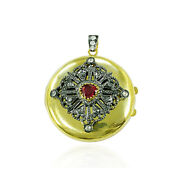 14k Gold Antique Pendant Studded Diamond And Ruby Charm Pendant Jewelry Gift