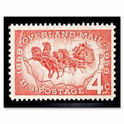Overland Mail 100 Years Postage Stamp Vintage Philately 12x16 Inch Framed Print