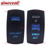 Laser 5 Pin Led Light Bar+7 Pin Winch In/out Wire Control Rocker Toggle Switch