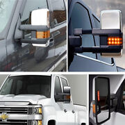 Towing Mirrors Side Power Heated Led Signal For 07-14 Chevy Gmc Chrome