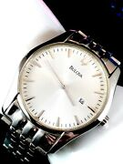 Sold Out Bulova Stainless Steel Patterned White Face 96b145 Watch Retail 800+