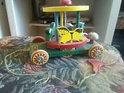 Vintage Brio Merry Go Round Pull Toy - Made In Sweden 3 Horses Bell And Pull Str