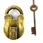 Vintage Indian Collectible Brass Made Padlock Home Office Security. G2-342