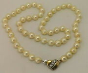 Vintage West Germany 17 Cultured Pearl Necklace With 9ct Gold Diamond Clasp.