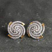 Andnbspstud Pierced Round Earrings Diamond Flower Solid Pave 14k Yellow Gold Jewelry