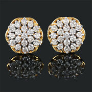 Floral Design Stud Pierced Earrings Diamond Solid Pave 14k Yellow Gold Jewelry