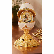 Madonna And Child - Deluxe Jeweled Ornament Enamelled Egg 5 1/2 Tall