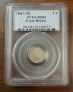 Great Britain 2 Pence 1660-1662 Pcgs Ms63 Silver Charles Ii Maundy Twopence.