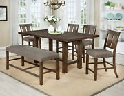 Simple 6pc Counter Height Dining Table Cushion Seat Grey Fabric Chairs Bench