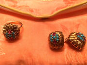 Holiday Sale -- Estate 18k Gold Ruby And Turquoise Ring With Earrings