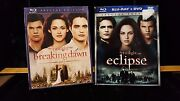2x Used Blue Ray Dvd Twilight, Breaking Dawn Part 1, Eclipse Lot M9-r