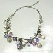 Multi Color Beads, Crystals And Imitation Pearls Cc Logo 16 Necklace
