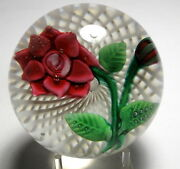 Large Antique New England Glass Company Negc Red Double Poinsettia Paperweight