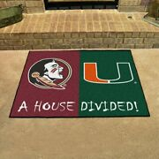Ncaa - Florida State-miami House Divided Rugs 33.75x42.5