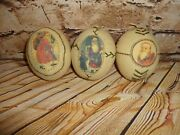 Rustic Christmas Tree Ornament Lot Plush Stitched Santa Claus Pictures Fabric 3