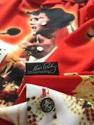 Vintage Dead Stock Elvis Presley Red Poly Shirt Front Button Sz M Made In Korea