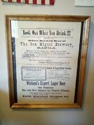 Antique 1899 San Francisco Wielands Export Lager Beer Sign Brewery Newspaper A+