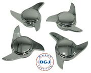 3 Bar Old School Smooth Chrome Knock-off Spinner Caps For Lowrider Wire Wheels