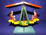 Rare Vintage 1920's Pickwick Tin Litho Penny Toy Kids On Swing New Old Stock