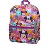 Disney Pink 16in Tsum Tsum Backpack Mickey Mouse Minnie Donald Goofy New