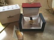 Tissot 18ct Gold Champagne Dial Ladies Watch With Black Leather Strap
