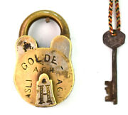 Indian Old Collectible Vintage Brass Made Padlock Home Office Security G2-326