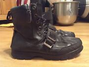 Mens Polo Hayward Black Leather Hiking Buckle Boots Size 10d