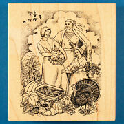 Psx Thanksgiving Scene Rubber Stamp K-2192 Pilgrims And Native American Indian