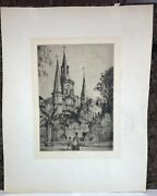 Knute Heldner Dry Point Etching Print St. Louis Cathedral New Orleans Ca. 1933