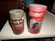 2 Vintage Rumford And Calumet Indian Head Baking Powder 1lb Tin Can And Embossed Lid