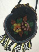 Vintage Antique Micro Glass Micro Beaded Evening Bag Purse 1920and039s Flapper Floral