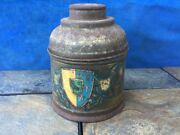 Antique Tobacco Can Tin Canister Humidor Coat Of Arms Vintage Rare Design 6/5
