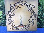 Antique Primitive Wall Art Canvas Pip Berry Twig Wreath And Flicker Candle 12/12